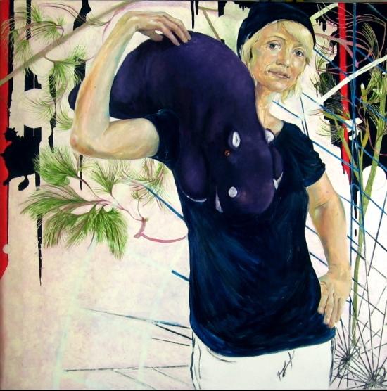 A glittering eye (featuring Meike Winnemuth), 2010, 100 x 100, Öl/Leinwand