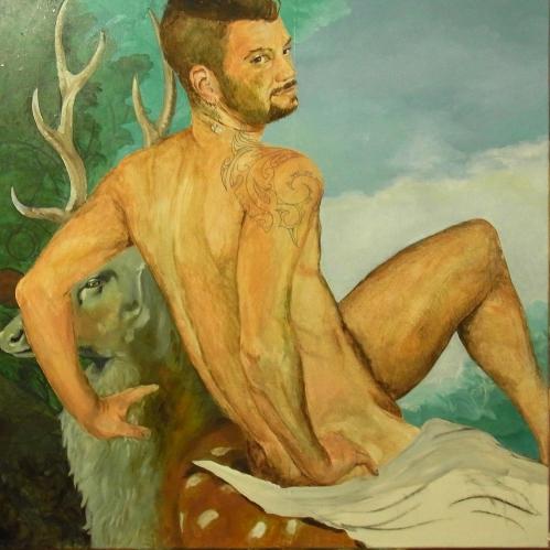 Boy on a roebuck (featuring KAy Garnellen), 2015, 100 x 100, Öl/Leinwand